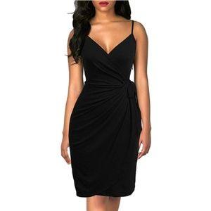 V-Neck Spaghetti Strap Sheath Belted Wrap Dress
